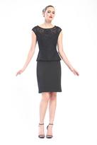 Sue Wong Cap Sleeve Bateau Neck Cocktail Dress in Black N16104
