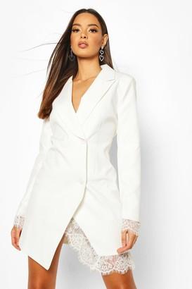 boohoo Lace Hem Blazer Dress