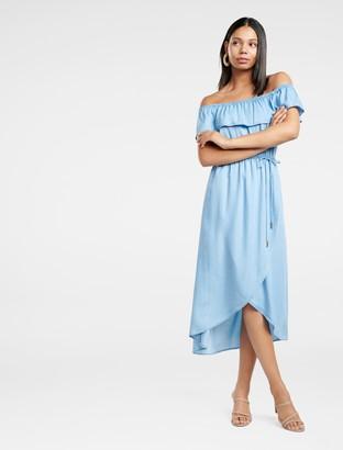 Forever New Sierra Denim Wrap Maxi Dress - Mid Wash - 6