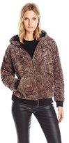 JET Corp Women's Faux Fur Zip Bunny Hoodie Jacket