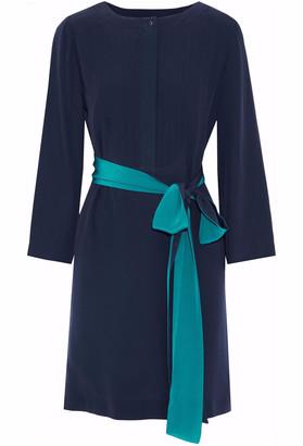 Vanessa Seward Belted Pleated Silk Crepe De Chine Mini Dress