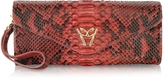 Ghibli Red Python Leather Clutch w/Wristelet