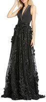 Mac Duggal 6-Week Shipping Lead Time V-Neck Sleeveless Tuxedo Gown with Floral Embroidery