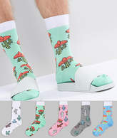 Asos Socks With Cactus Sombrero Design 5 Pack