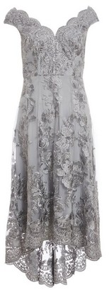 Dorothy Perkins Womens Grey Embroidered Bardot Dress, Grey