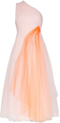 Carolina Herrera One-Shoulder Two-Tone Midi Gown