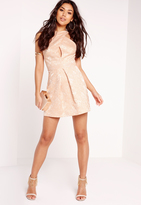 Missguided Jacquard Cross Over Skater Dress Nude
