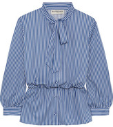 Balenciaga Lavalliere Pussy-bow Striped Stretch-jersey Shirt - Blue