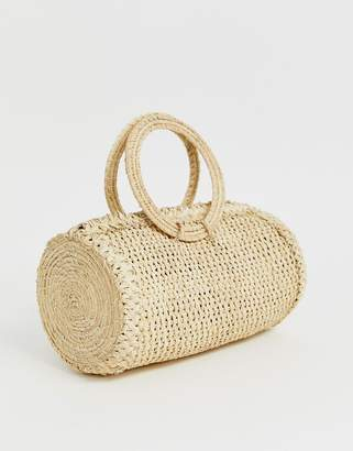 Kaanas woven raffia barrel bag in natural-Beige