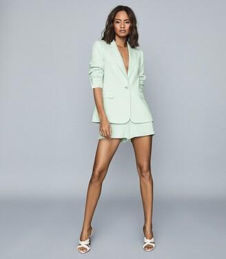 Reiss Lana - Textured Tailored Blazer in Green