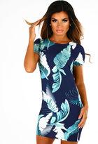 Pink Boutique Tropical Escape Navy Multi Leaf Print Shift Dress