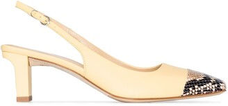 AEYDĒ Drew XX 75mm leather slingback pumps