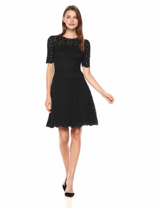 Lark & Ro Amazon Brand Women's Half Sleeve Lace Crewneck Fit and Flare Dress