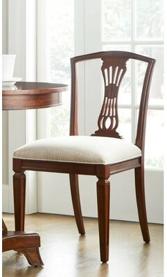 Stanley Furniture Old Town Linen Upholstered Queen Anne Back Side Chair in Barrister (Set of 2