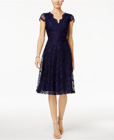 Connected Petite Lace A-Line Dress