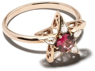 Selim Mouzannar 18kt rose gold rhodolite diamond Star ring