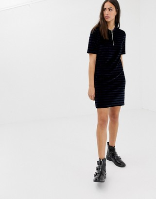 Maison Scotch striped velour zip dress-Black