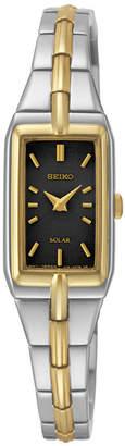 Seiko Womens Black Dial Two-Tone Stainless Steel Solar Bracelet Watch SUP274