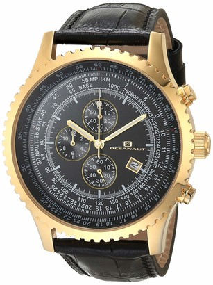 Oceanaut Men's Actuator Stainless Steel Quartz Camping Watch with Leather Strap