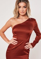 Missguided Rust One Sleeve Stretch Satin Mini Dress
