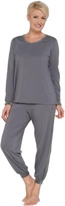 AnyBody Loungewear Petite Cozy Knit and Velour PJ Set
