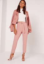 Missguided Petite Belt Cigarette Trousers Pink