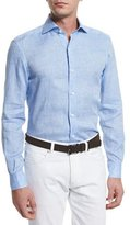Ermenegildo Zegna Linen Long-Sleeve Sport Shirt, Light Blue