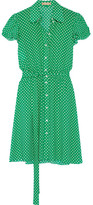 Michael Kors Polka-dot Silk-georgette Mini Dress - Green