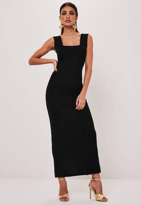 Missguided Black Square Neck Maxi Dress