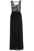 Quiz Black Chiffon Crochet Flower Maxi Dress