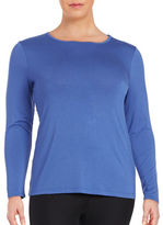 Lord & Taylor Plus Plus Solid Long Sleeve Tee
