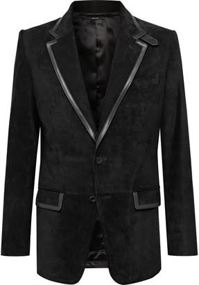 Tom Ford Slim-Fit Leather-Trimmed Suede Blazer