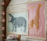 Pottery Barn Kids Hippo and Giraffe Explorer Canvas Art