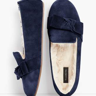 Talbots Fireside Bow Slippers - Suede