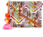 Pink & Orange Geometric Pom-Pom Crossbody Bag