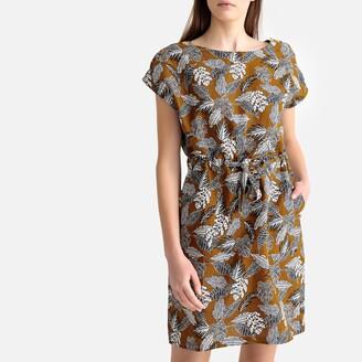 La Redoute Collections Linen Mix Floral Print Tie-Waist Shift Dress