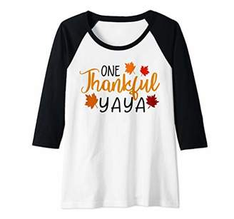 Ya-Ya Womens One Thankful Grandma Fall Thanksgiving Autumn Raglan Baseball Tee
