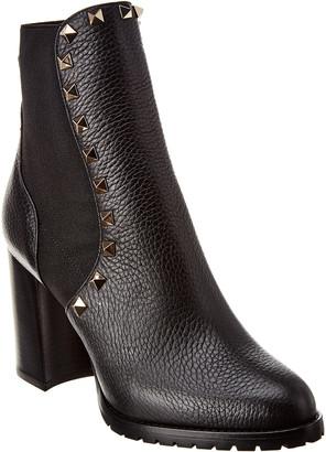 Valentino Beatle Rockstud 90 Grainy Leather Bootie