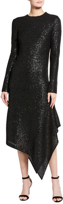 St. John Signature Statement Sequin Knit Dress with Asymmetrical Hem