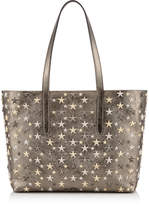 Jimmy Choo SOFIA/M Anthracite Glitter Leather Tote Bag with Multi Metal Stars