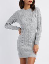 Charlotte Russe Cable Knit Bodycon Sweater Dress