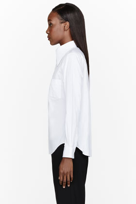 Comme des Garcons White Pointed Collar Blouse