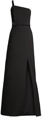 Aidan Mattox Bead-Trim Side-Cutout Gown