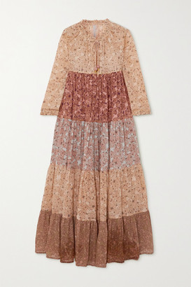 Yvonne S Hippy Tiered Printed Cotton-voile Maxi Dress - Mustard