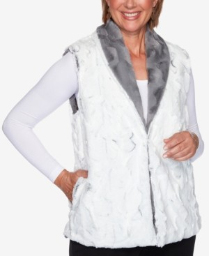 Alfred Dunner Petite Knightsbridge Station Reversible Faux-Fur Vest