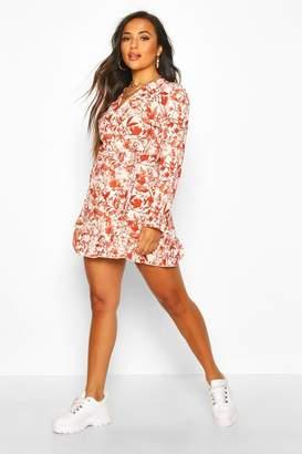 boohoo Petite Woven Tonal Floral Print Frill Wrap Dress