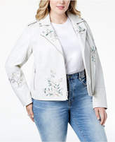 Levi's Plus Size Embroidered Faux-Leather Moto Jacket