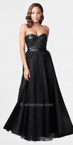 Aidan Mattox Strapless Gowns with Pleather Seamed Bodice