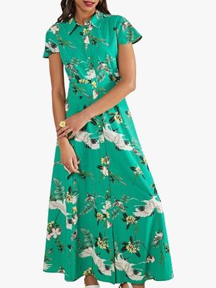 Yumi Crane Floral A-Line Maxi Dress, Green/Multi