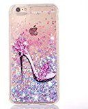 "iPhone 6 plus iphone 6S plus Glitter Case, UCLL iPhone 6 plus /6S plus Liquid Case,High Heeled Moving Bling Glitter Floating Cover for 5.5"" iPhone 6+ /6S+ with a Screen Protector (blue & pink)"